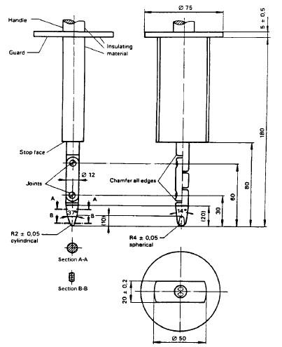 Test Probe B IEC61032 Figure 2