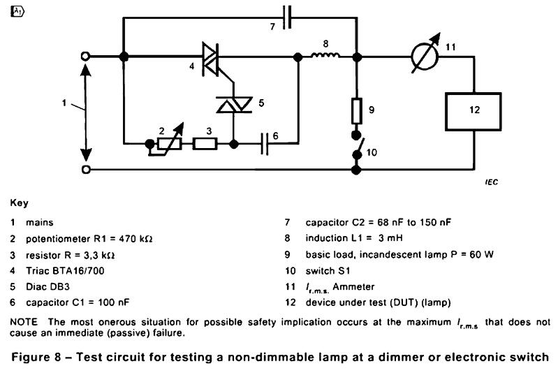 Test circuit for testing a non-dimmable lamp at a dimmer or electronic switch