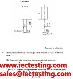 TIS 166-2549 Figure A.10  Gauge for testing minimum withdrawal force of current-carrying pole for flat-round pin socket-outlet